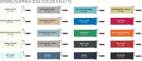 sherwin williams summer 2016 color palette pottery barn paint colors i the light