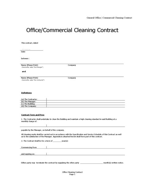 cleaning contract template   templates   word