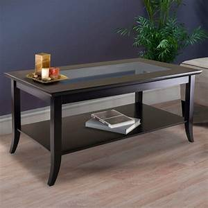 Winsome, Genoa, Rectangular, Coffee, Table, With, Glass, Top, And, Shelf