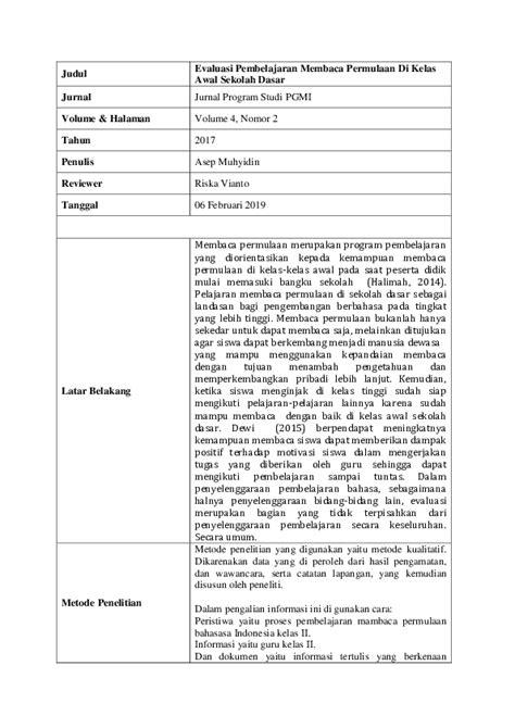 Jim bertujuan menyebarluaskan hasil penelitian di bidang manajemen (sumber daya manusia, keuangan. (PDF) Review Jurnal 1 (Evaluasi Pembelajaran Membaca ...
