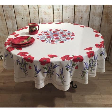 frenchictoyou le tissu provencal nappe ronde 216 180 coquelicot blanche coton enduit