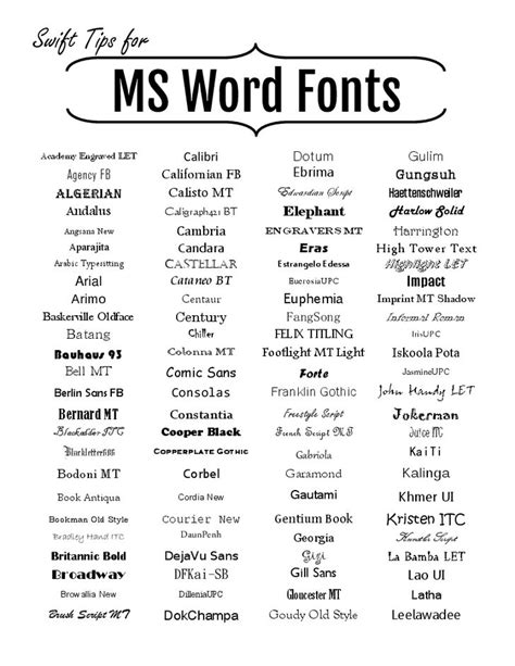 Microsoft Word Fonts (With images) | Microsoft word fonts, Word fonts, Microsoft word