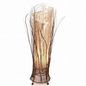 shell and twig wrapped floor lamp 100cm With floor lamp 100cm