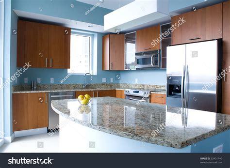new modern kitchen interior island condo stock photo