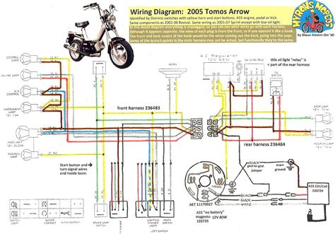 Moped Ignition Switch Wiring Diagram by New Tomos Electrical 171 Myrons Mopeds