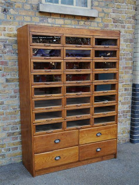 vintage oak haberdashery cabinet   glass fronted