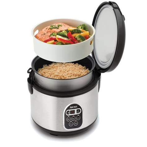 steamer cuisine cook rice and fish in aroma stainless steel 20 cup digital