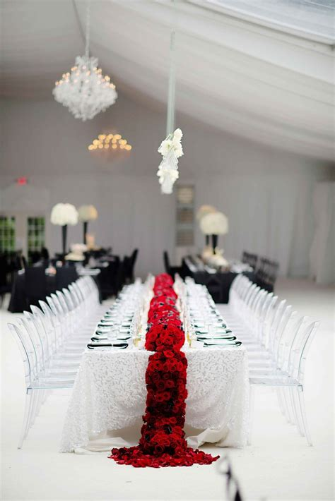 reception d 233 cor photos black white red wedding table