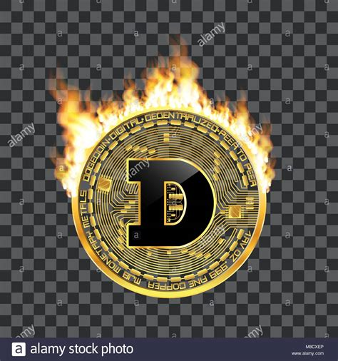 Crypto currency dogecoin golden symbol on fire Stock ...