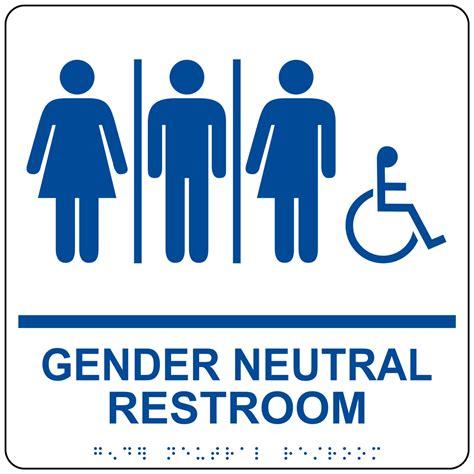 Gender Neutral Bathroom Signs by Ada Gender Neutral Restroom Sign Rre 25443 99 Bluonwht