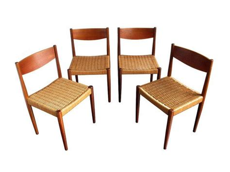 four 4 poul volther for frem rojle teak cord dining chairs