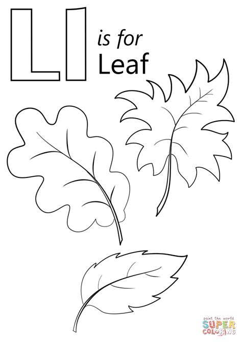 letter l is for leaf coloring page free printable 542 | letter l is for leaf coloring page