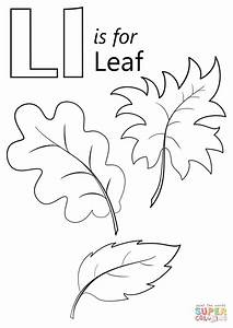 Letter L Is For Leaf Coloring Page Free Printable