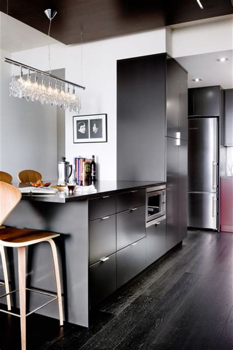 modern kitchen  red  charcoal interiors  color