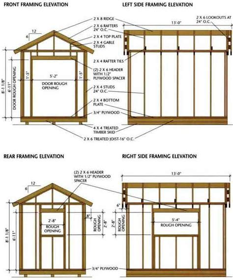 6x8 Storage Shed Plans Free by 8 215 12 Shed Blueprints For Building A Wooden Storage Shed