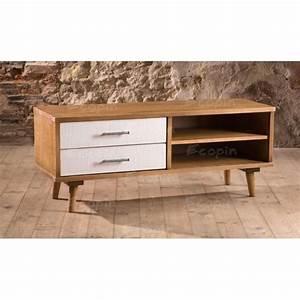 Meuble Tv Vintage : meuble tv 2 tiroirs en pin massif 4 niches style vintage ~ Teatrodelosmanantiales.com Idées de Décoration