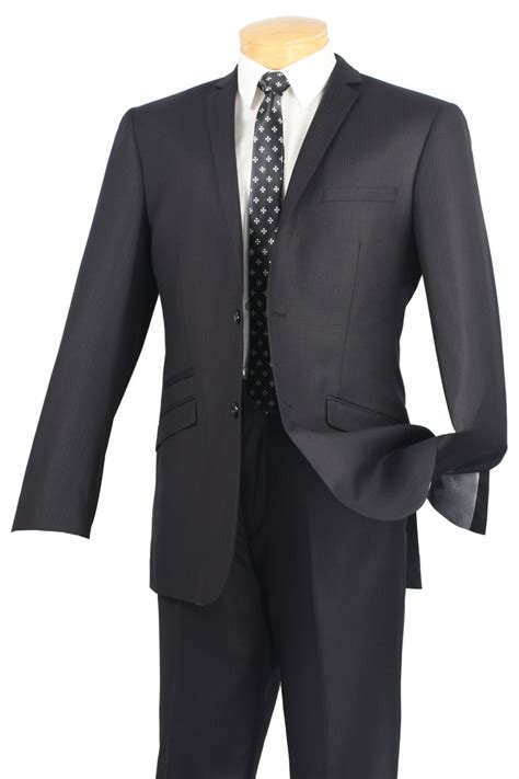 vinci mens black narrow pinstripe slim fit suits srs