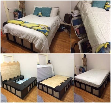 clever storage ideas   small bedroom   home diy bed home decor