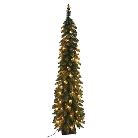7 ft pre lit pencil slim artificial christmas tree with