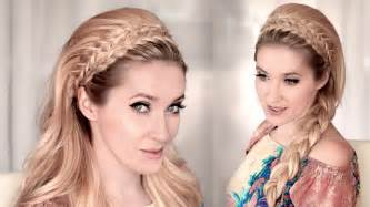 coiffure mariage cheveux mi lachã s braided headband hairstyle tutorial for medium hair 60s big teased hair for wedding prom