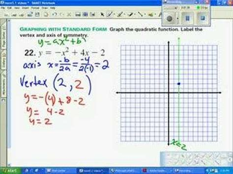 find standard form from graph graph parabola standard form youtube