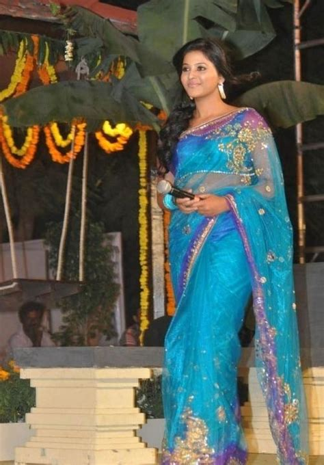 anjali beautiful pics  blue saree  svsc audio launch