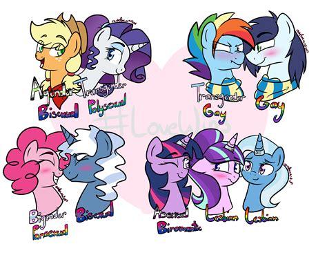 rarity dash rainbow twilight applejack trixie lgbt pie pinkie sparkle pony pride flag polysexual agender bigender straight lesbian starlight soarin