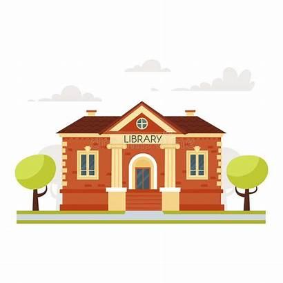 Library Building Educational Cartoon Background Illustration Vector