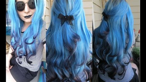 How I Dyed My Hair Extensions Blue With Black Tips Ice