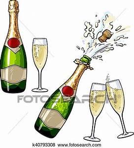 Image Champagne Anniversaire : ferm ouvert bouteille champagne et lunettes clipart k40793308 fotosearch ~ Medecine-chirurgie-esthetiques.com Avis de Voitures