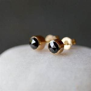 Black Diamond Stud Earrings Rose Cut Diamonds Diamond Studs