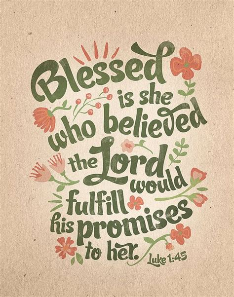 Luke 1:45 Bible Verse Floral Scripture Printable Blessed ...