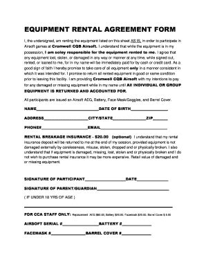 equipment rental contract fill printable
