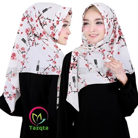 jilbab segi empat motif bunga sakura hijab converse
