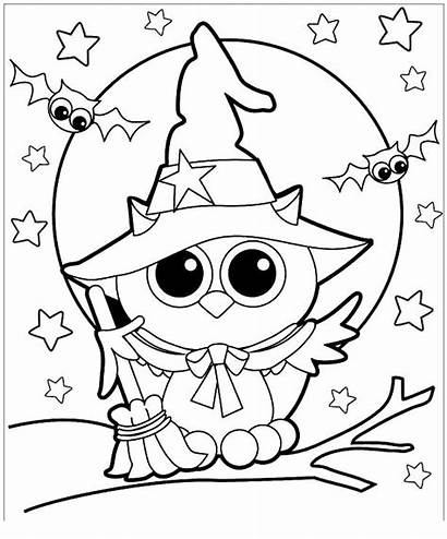 Pages Spooky Coloring Witch Owl
