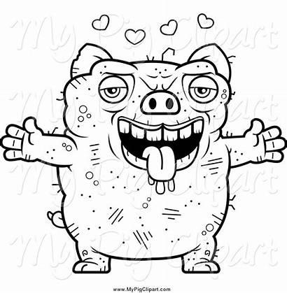 Ugly Pig Coloring Clipart Amorous Lelijke Cerdo