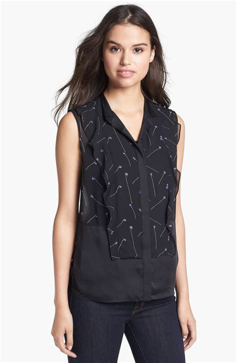 black sleeveless blouse kenneth cole isabelle ruffle front sleeveless blouse in
