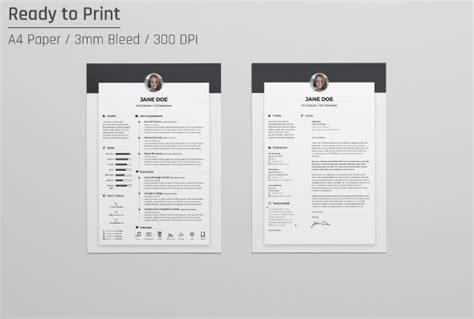 resume cv design template cover letter   psd