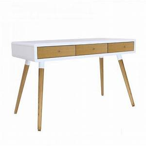 Bureau Scandinave Enfant : bureau blanc 3 tiroirs ch ne 4 pieds ch ne ~ Teatrodelosmanantiales.com Idées de Décoration