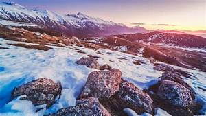 Nature, Landscape, Rock, Snow, Mountain, Sunset, Winter