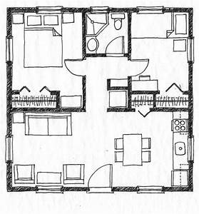 Bedroom designs small house floor plan without legend two for Floor plans for small houses with 2 bedrooms