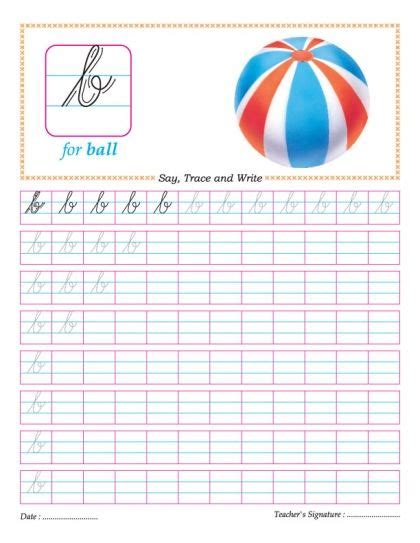 cursive small letter b practice worksheet ideas