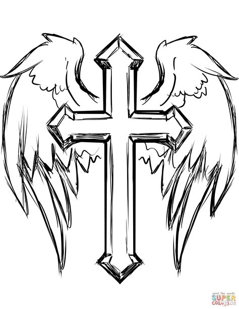 cross coloring page cross with wings coloring page free printable coloring pages