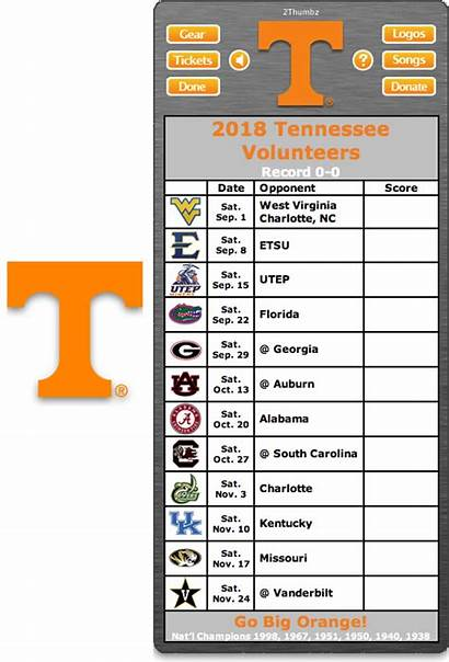 Football Schedule Tennessee Vols Volunteers Tn University