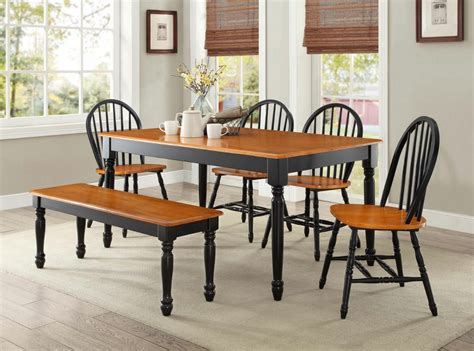 kitchen dining table 6 pc farmhouse dining room set table bench chairs wood