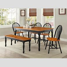 6 Pc Farmhouse Dining Room Set Table Bench Chairs Wood