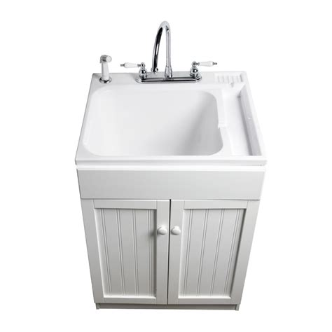 white laundry sink cabinet shop asb white composite freestanding utility tub at lowes com