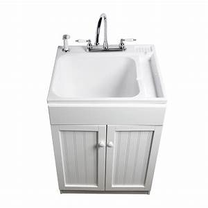 Shop ASB White Composite Freestanding Utility Tub at Lowes com