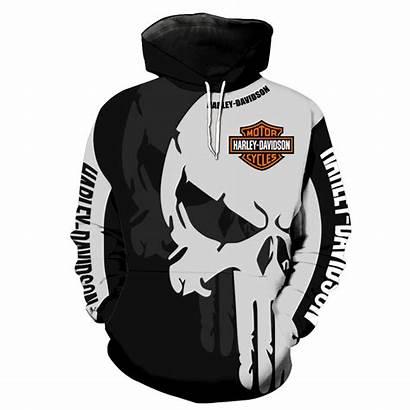 Harley Davidson Skull Graphic Hoodies Hoodie Punisher