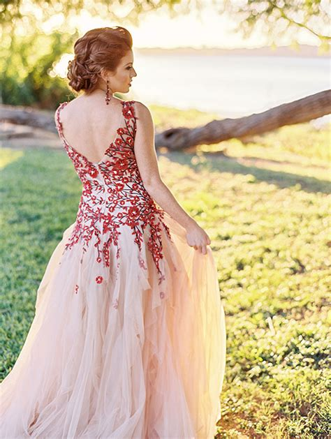 bold colors floral wedding dress fall